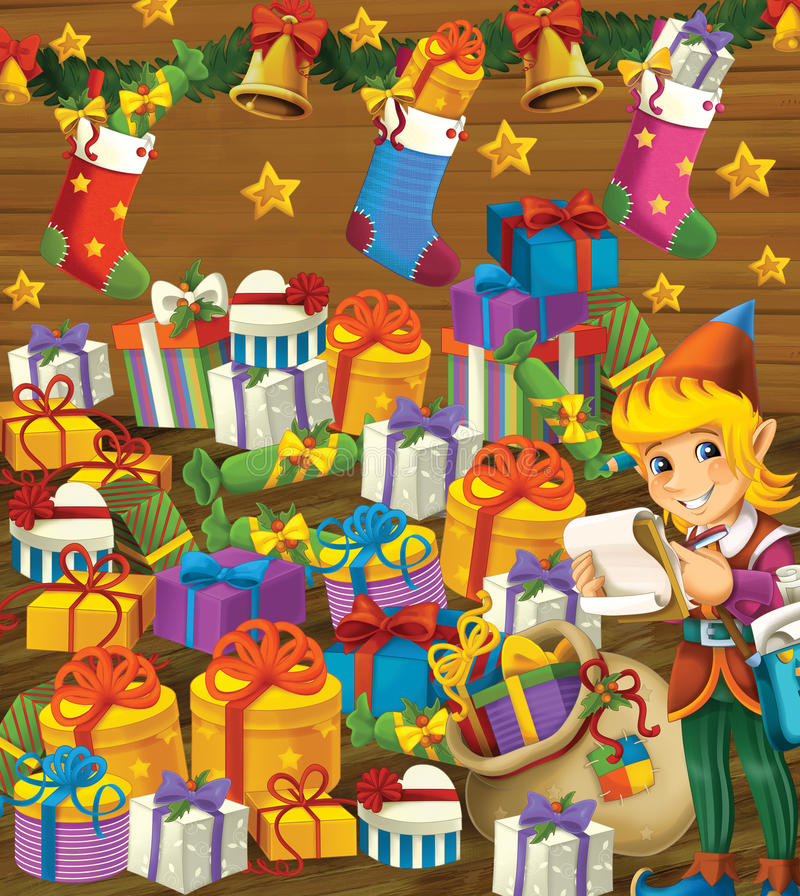 The christmas exercise - book page - task for the children stock illustration