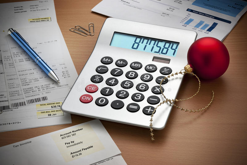 Christmas Expenses Bills Calculator Debts royalty free stock photos