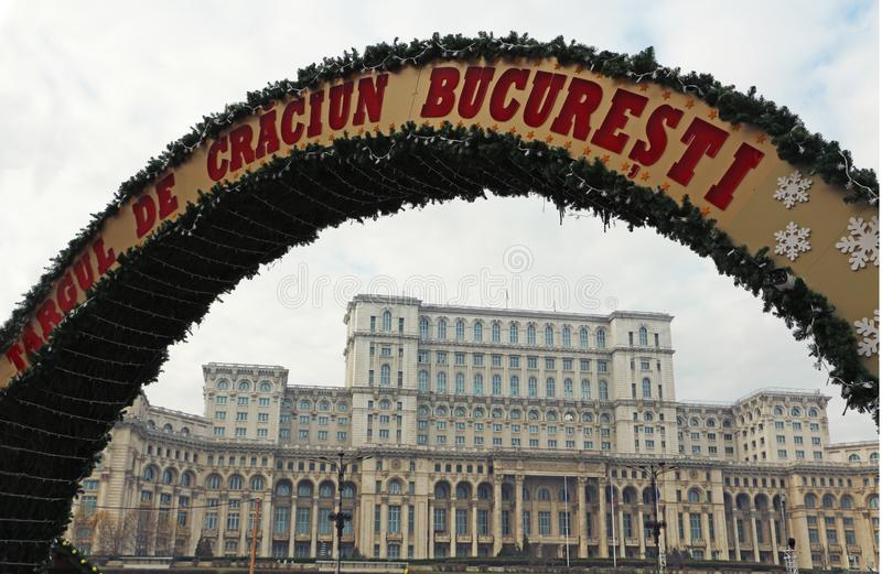 Christmas Fair in Bucharest Romania near Parliament - Targ de craciun Bucuresti Casa Poporului. Christmas Fair entrance arch in Bucharest Romania, near the stock photo