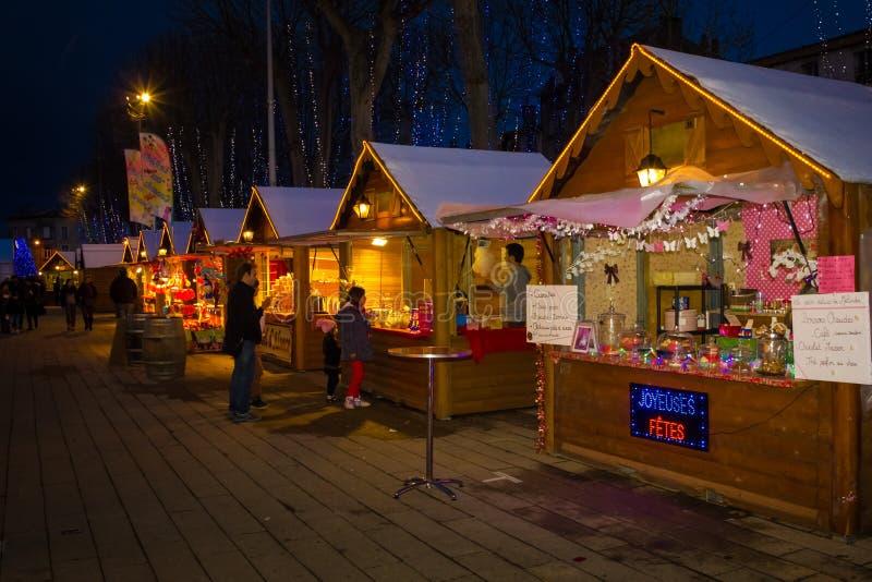 Christmas fair. Carcassonne. France stock photography
