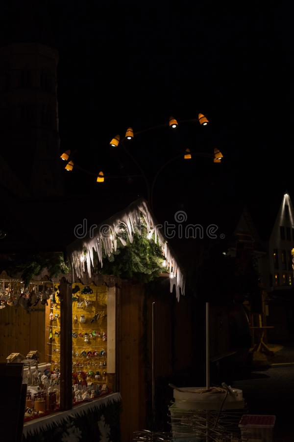 Christmas fair with christmas decoration on a marketplace. In november south german historical city near munich and stuttgart stock photos