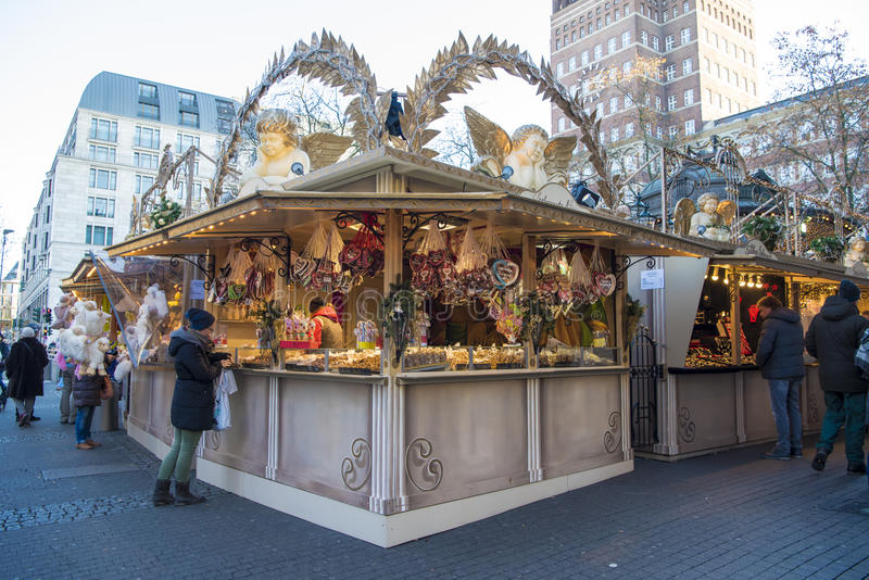 Christmas fair Dusseldorf. Gingerbread hearts and burnt almonds on Christmas market in Duesseldorf, Germany stock photo