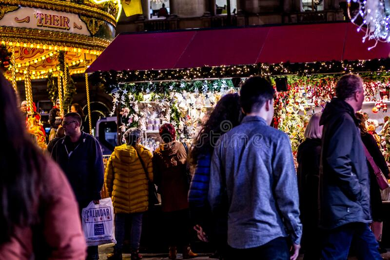 Christmas Fair in Glasgow. George Square, Scotland, UK, 09 December 2019 stock photo