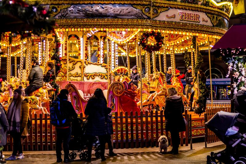 Christmas Fair in Glasgow. George Square, Scotland, UK, 09 December 2019 royalty free stock image