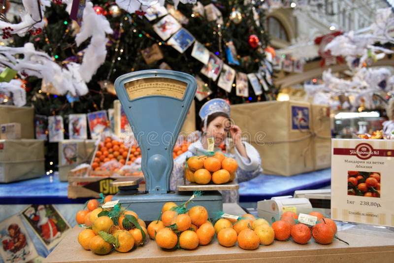 Christmas fair in the GUM, Moscow, Russia stock images