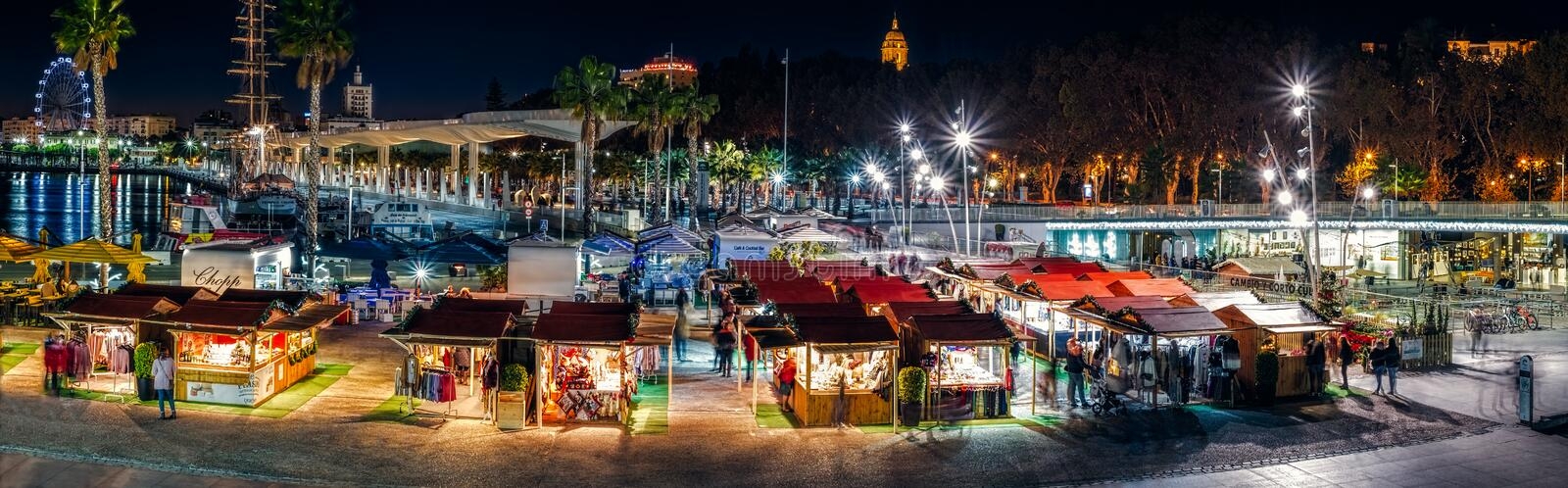Christmas fair in the night royalty free stock images