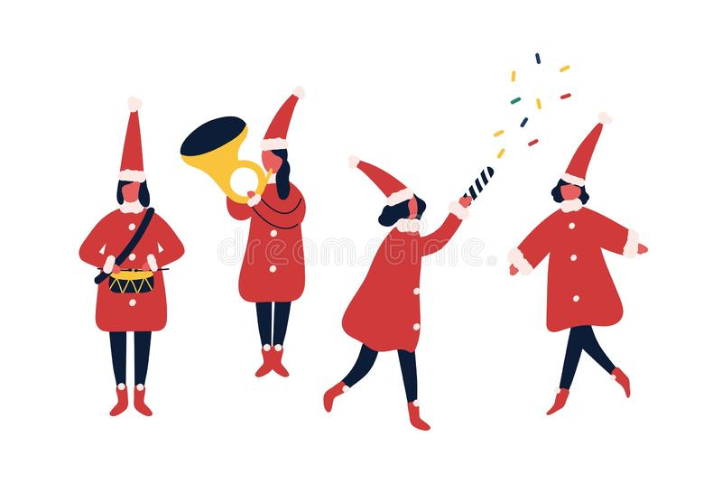 Christmas fair performers flat vector illustrations set. Winter holiday party, carnival participants in festive elf. Costumes. Orchestra musicians. People vector illustration