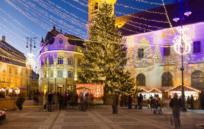 Download Christmas fair in Sibiu editorial photography. Image of historic - 83706972