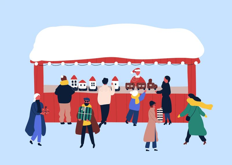 Christmas fair souvenir stall flat vector illustration. Winter season holidays festival. Children and adults buying stock illustration