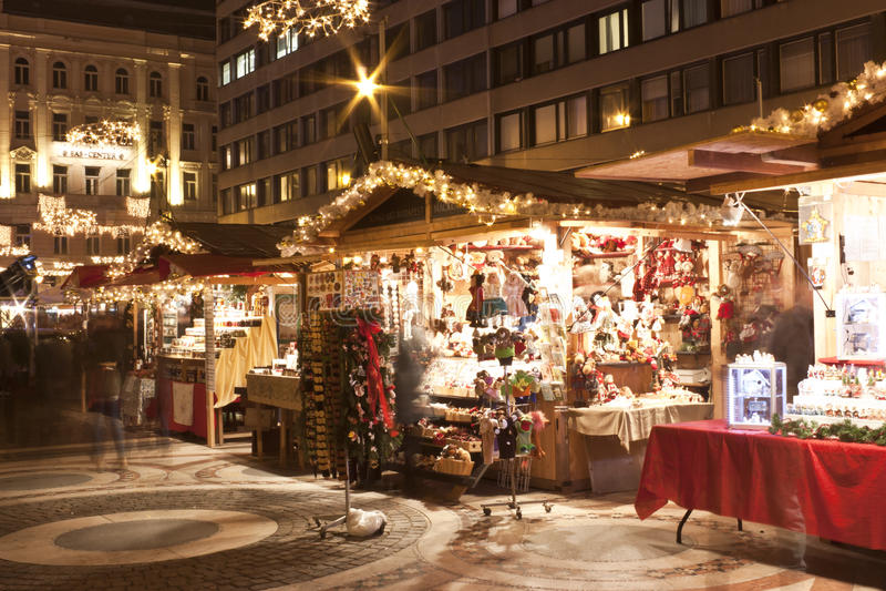 Christmas fair stands before the Saint Stephen Basilica stock photos