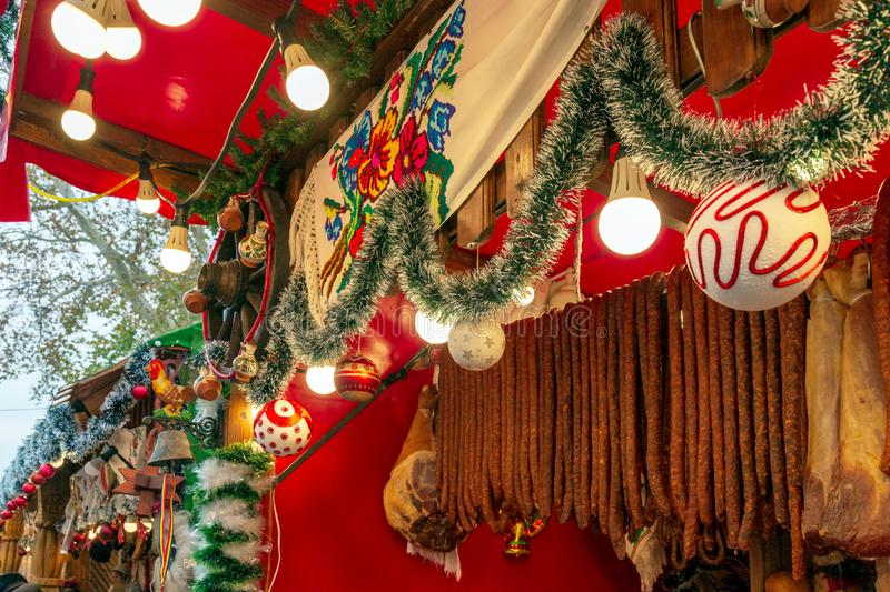 Christmas fair from Timisoara, Romania. Aspects from the street Christmas fair from Timisoara, Romania, with traditional products, decoration and specific royalty free stock photo