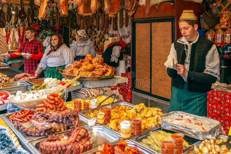 Christmas fair with traditional products, Timisoara, Romania. TIMISOARA, ROMANIA - DECEMBER 1, 2018: Aspects from the street Christmas fair with traditional stock image