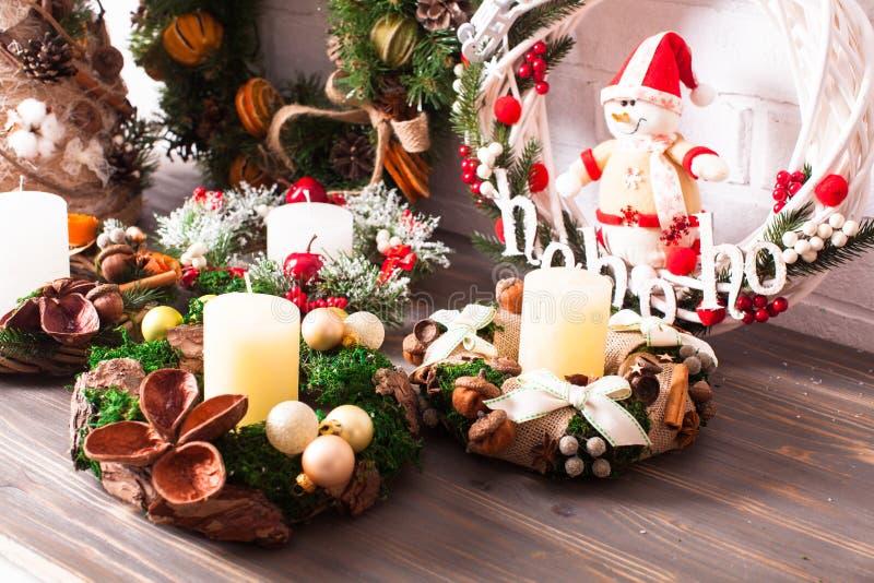 Christmas fair wreathes stock photos