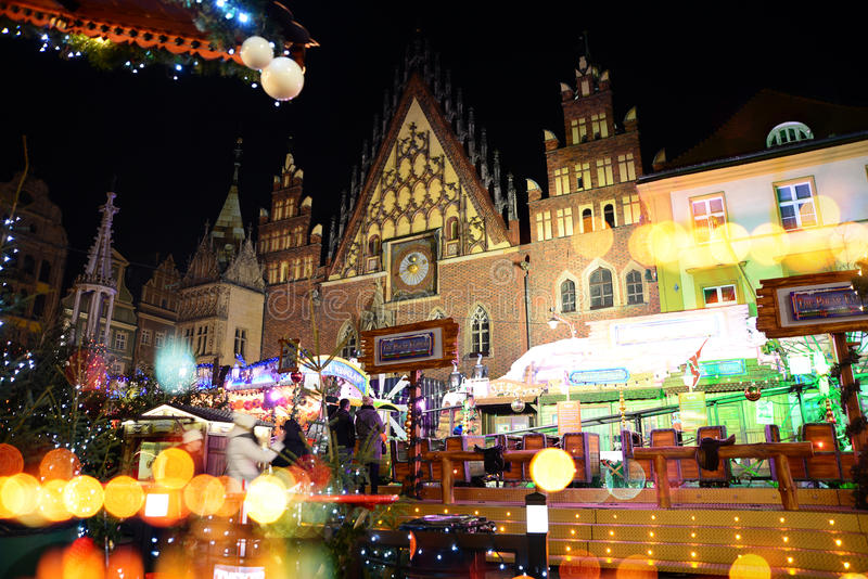 Christmas fairs in the market square in Wroclaw. Wroclaw, Poland - December 14, 2016: Christmas fairs in the market square in the center of Wroclaw royalty free stock images