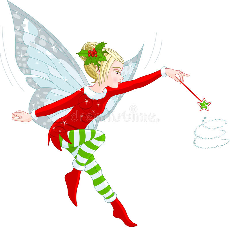 Christmas fairy. Illustration of a beautiful Christmas fairy in fly stock illustration