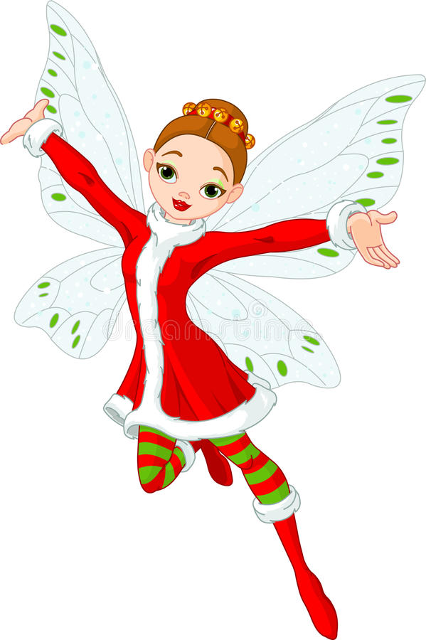 Christmas fairy. Illustration of a beautiful Christmas fairy in fly royalty free illustration