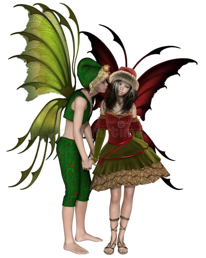Christmas Fairy Kiss stock illustration