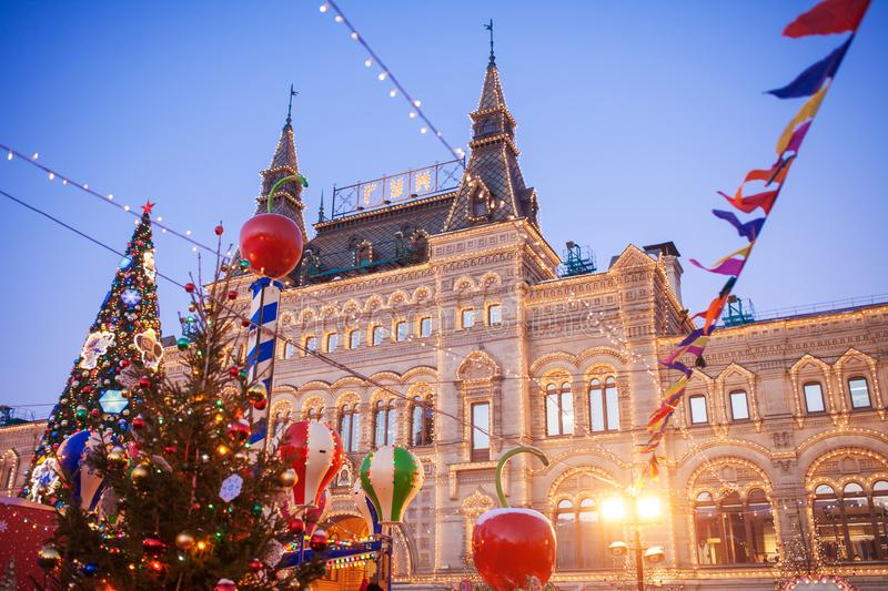 Christmas fairy  on Red square in Moscow, Russian. Christmas celebration and decorations. New year. Decorated city. Christmas tree royalty free stock images