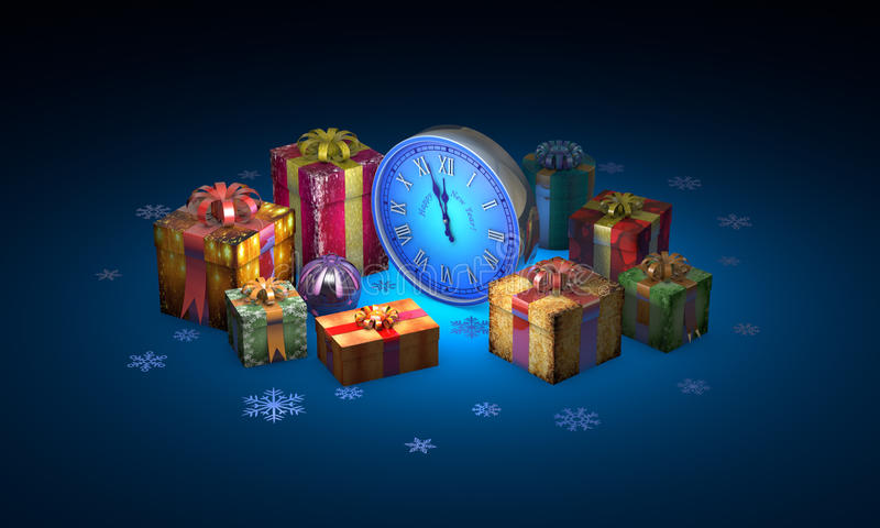 Christmas fairy-tale night. Beautiful gifts, clock. New Year. 3D illustration. Beautiful christmas gifts, clock. Available in high-resolution and several sizes royalty free illustration