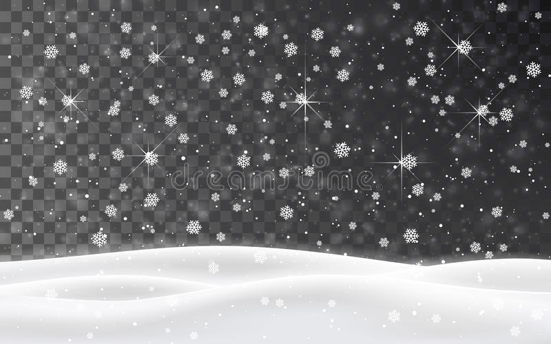 Christmas falling snow vector isolated on dark background. Snowflake transparent decoration effect. Xmas snow flake pattern. Magic royalty free illustration