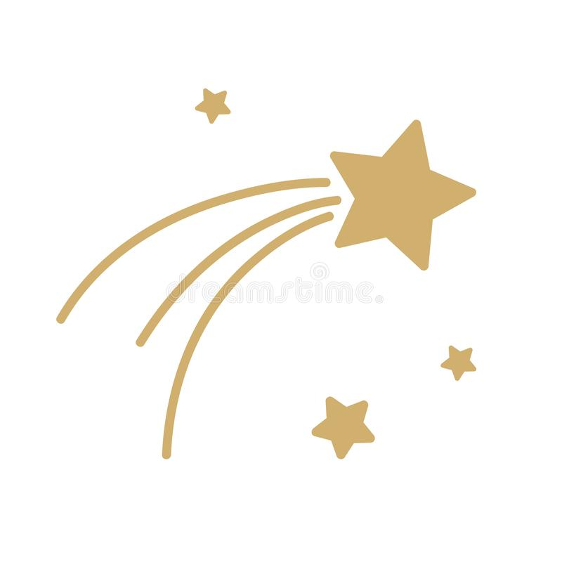 Christmas falling star icon isolated on white background stock illustration