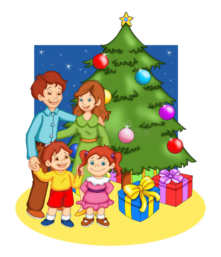 Christmas in family. Color digital illustration of a happy family in front of the Christmas tree