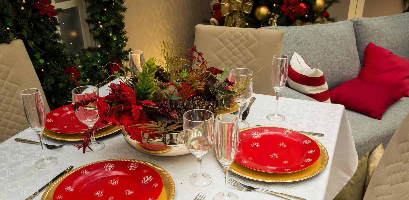 Christmas Family Dinner Table. Decorated royalty free stock image
