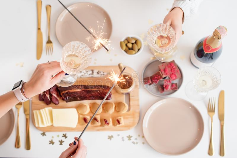 Christmas Family Dinner Table Concept. Christmas feast. Holiday Gold place setting, overhead shoot. Christmas Family Dinner Table Concept. Christmas feast stock photography