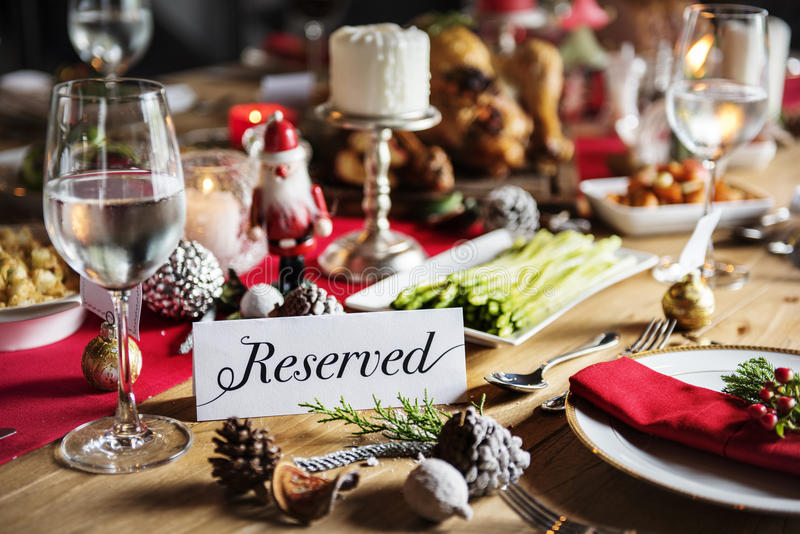 Christmas Family Dinner Table Concept. Tradition Christmas Family Dinner Table Reserved Concept stock photography