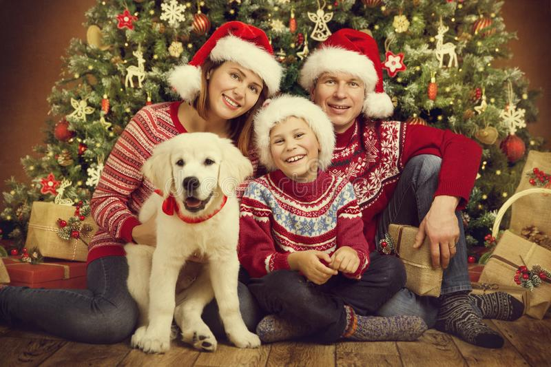 Christmas Family and Dog Under Xmas Tree, Happy Mother Father Child Portrait in Red Hats royalty free stock photo