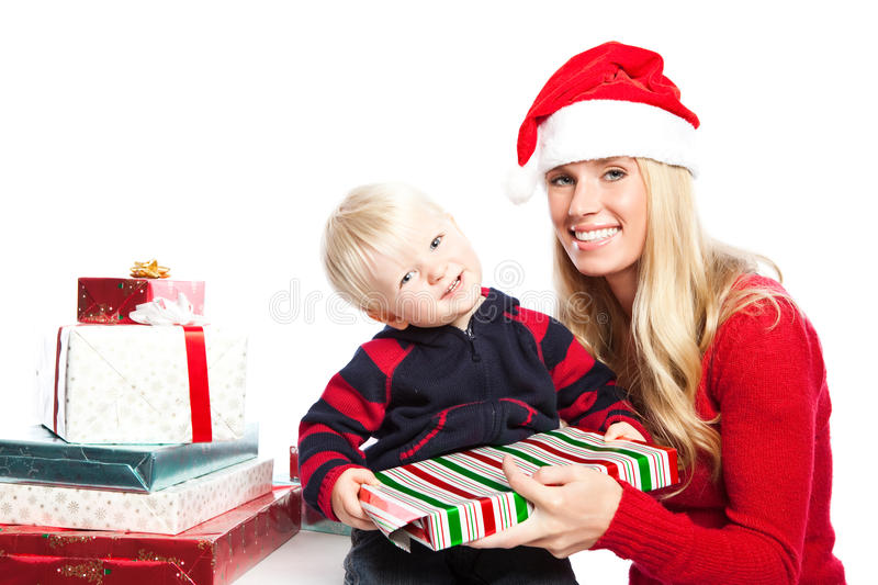 Christmas family gifts stock photos