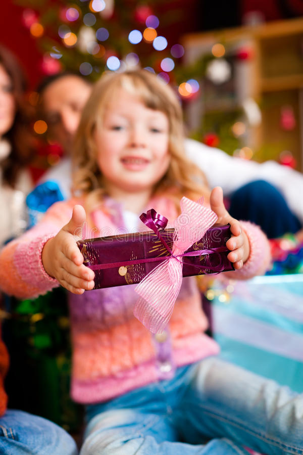 Download Christmas - Family With Gifts On Xmas Eve Stock Image - Image: 21336989