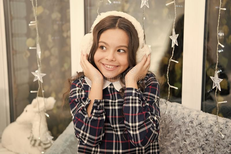 Christmas family holiday. happy new year. Christmas shopping. Cute little child girl with xmas present. The morning royalty free stock image