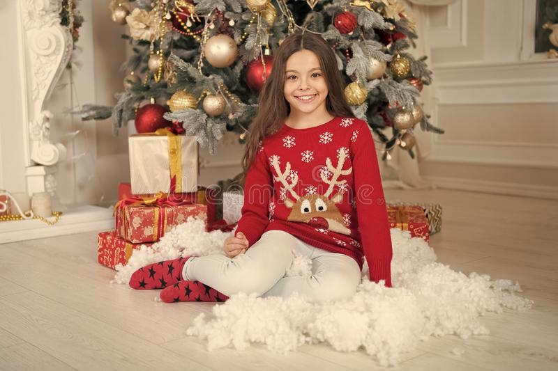 Christmas family holiday. waiting for santa. Xmas. The morning before Xmas. happy new year. Christmas shopping. Cute. Little child girl with xmas present royalty free stock images
