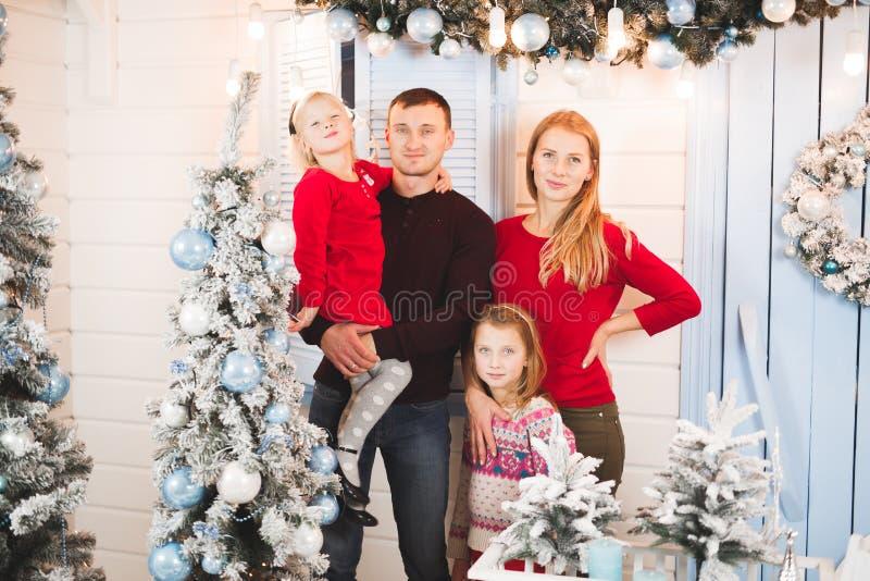Christmas family open present gift bag, Christmas tree interior.  stock image