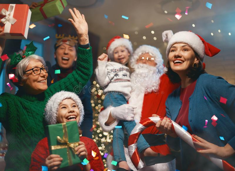 Christmas family party stock photography