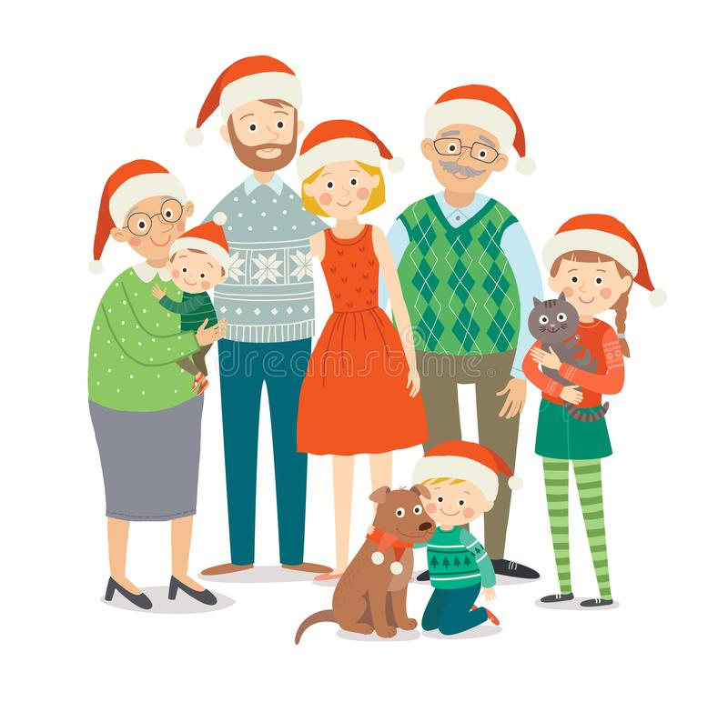 Christmas family portrait. Big happy family in Christmas hats. Grandparents, parents and children together. Cartoon vector illustration