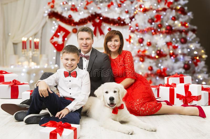 Christmas Family Portrait, Happy Father Mother Child Boy and Dog royalty free stock image