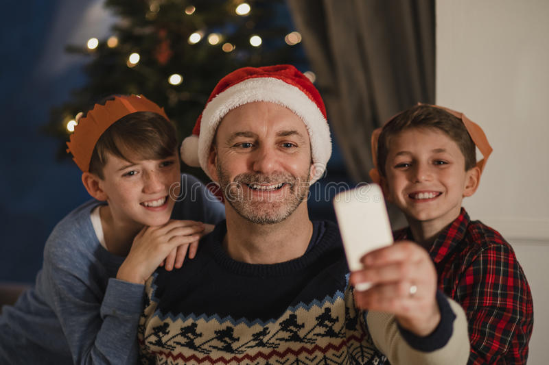 Christmas Family Selfie stock images