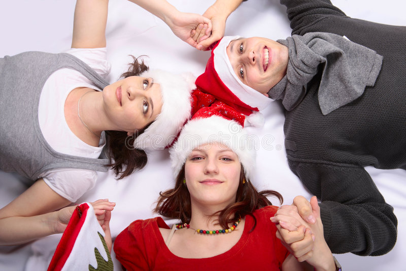 Christmas in family with teen girl