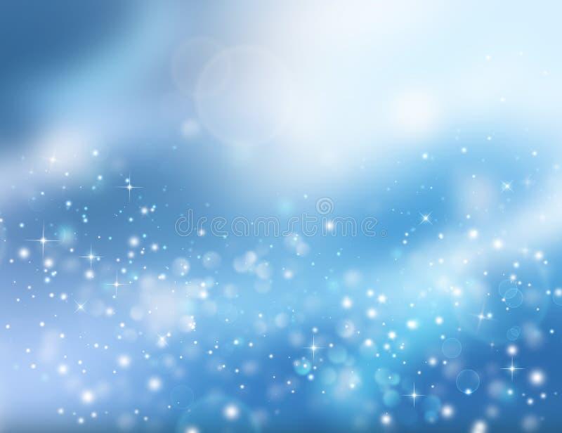 Christmas fantasy, winter background with blinking stars. Magic blue holiday glitter background with blinking stars. Christmas composition stock illustration