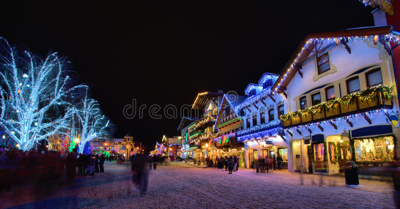 Christmas festival in USA. Beautiful Christmas lights celebration in a town of USA royalty free stock image