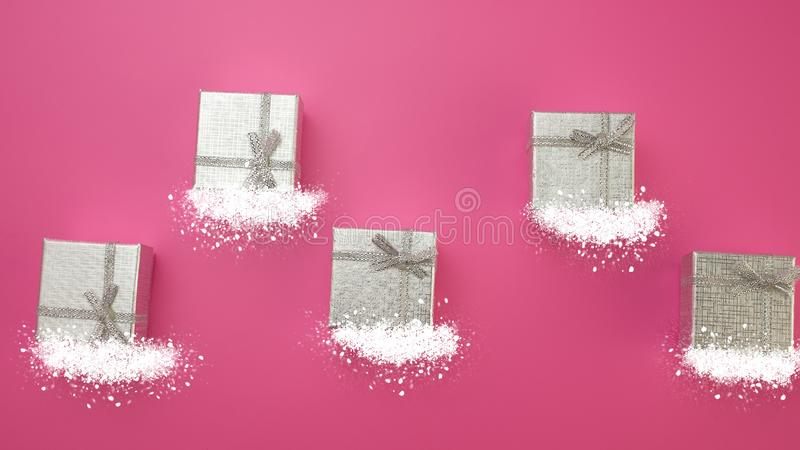 Christmas Festive Background. Silver Gift Boxes and Snow on a Pink Background stock image