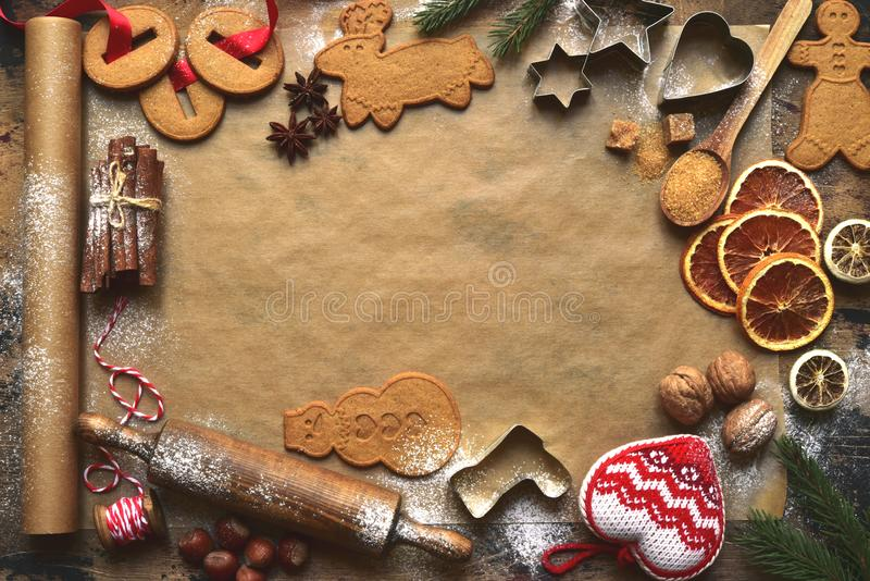Christmas festive baking background with traditional ingredients and props for making ginger cookies. Top view with copy space stock images