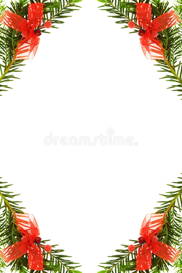Christmas Festive Border With Pine Tree Royalty Free Stock Image