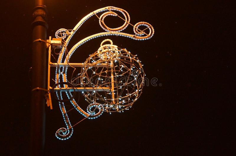 Christmas festive decoration and electric lights on the streets of St. Petersburg royalty free stock photo