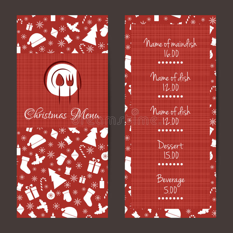 Christmas festive menu design royalty free illustration