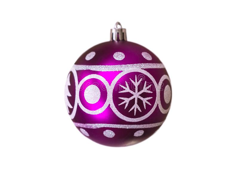 Christmas festive purple balloon with the image of a spruce and snowflakes for decoration on a white background, isolated, soft. Focus, tree, celebration stock photos