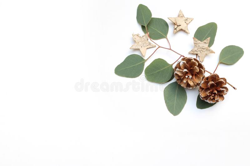 Christmas festive styled stock image. Floral frame composition with pine cones, eucalyptus branches and birch wooden royalty free stock photography