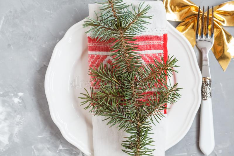 Christmas serving of a white plate royalty free stock photography